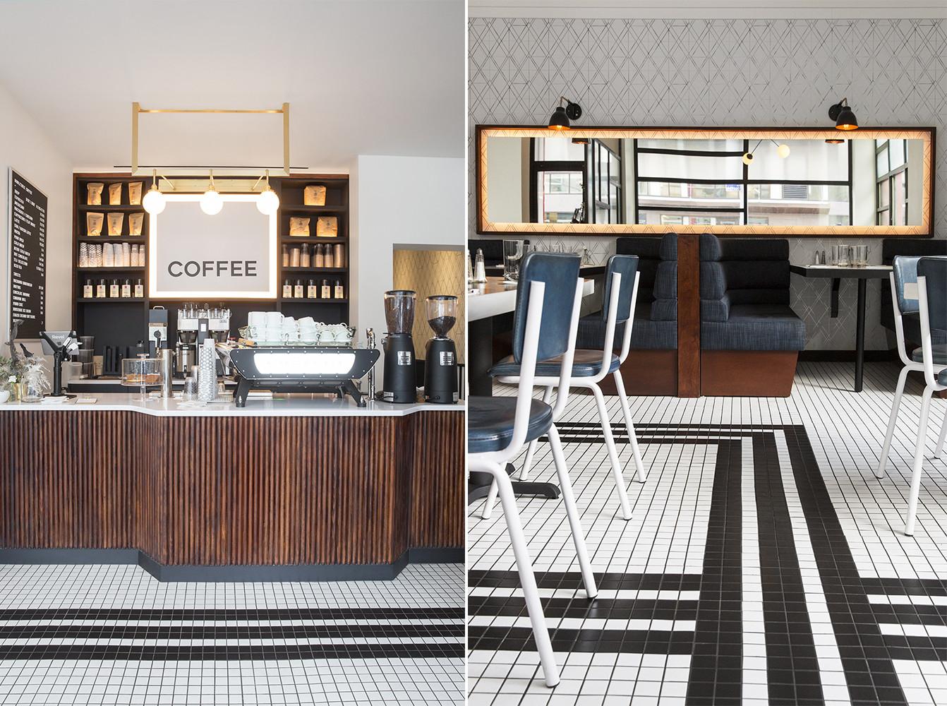 咖啡轻食餐厅前台及就餐区设计