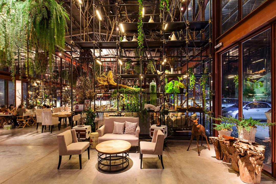 生态轻食餐厅等候区设计