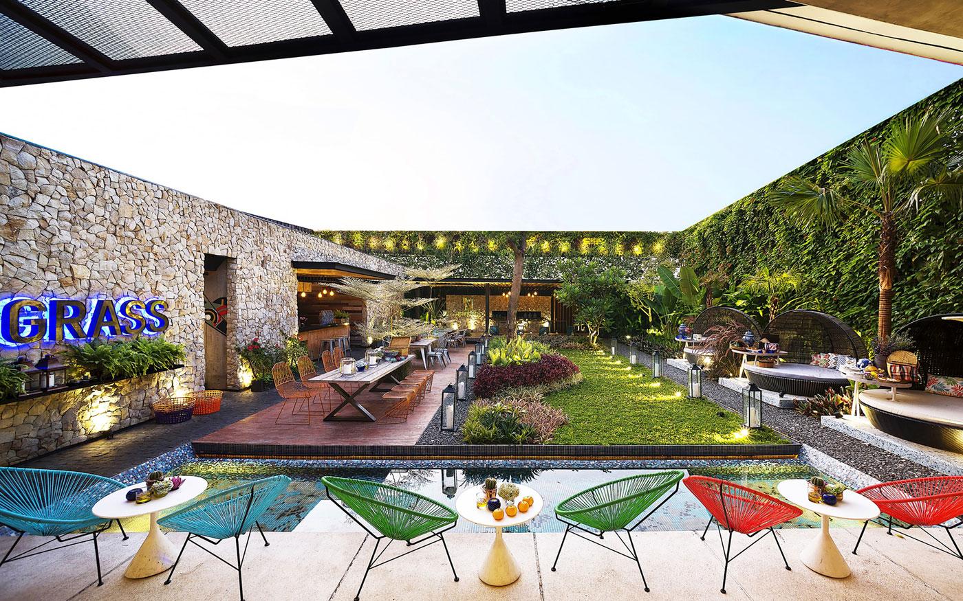 柠檬草的爱因斯坦主题餐厅就餐区&中庭设计