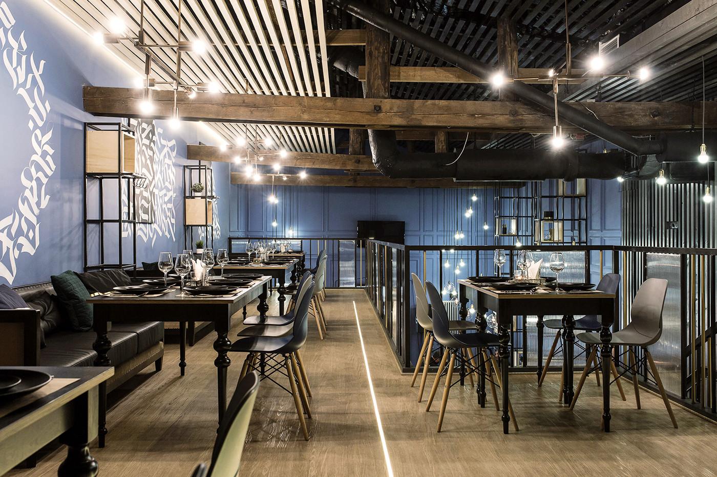 现代化西餐厅二层就餐区设计
