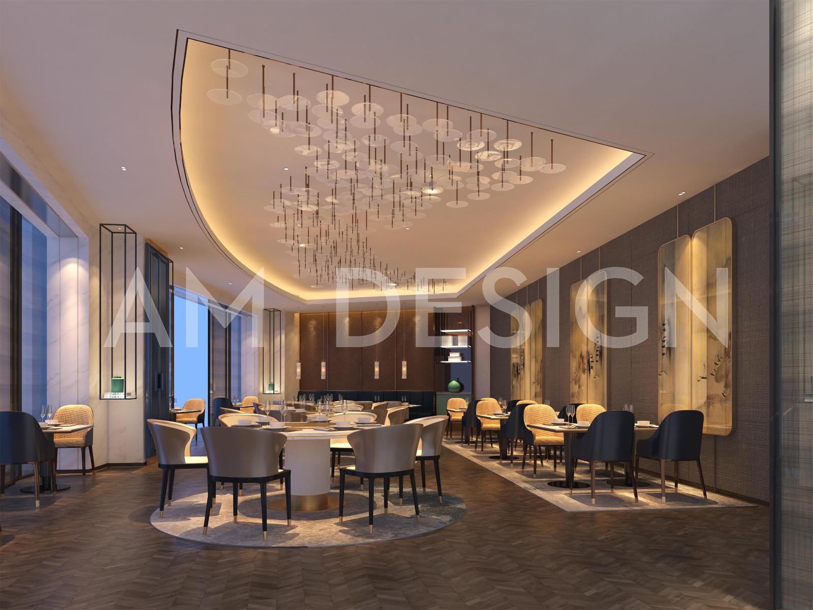 沧州渤海酒店餐厅就餐区设计